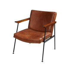Brown leather armchair vintage effect Blake Maisons du Monde by