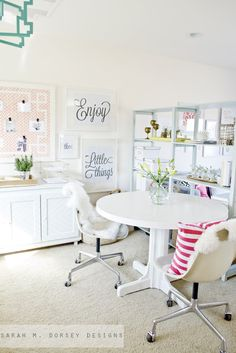 What's not to love about this bright white home office?! With space and storage for all your craft essentials and supplies, any extra room you have in your home can easily be transformed thanks to this inspirational interior design makeover.