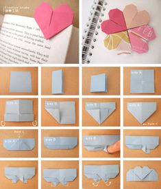 Origami: heart page marker. Note: when using origami paper with one colored side and one white side, the white side is Side A. Origami 3d, Origami Paper, Diy Paper, Paper Crafts, Heart Origami, Origami Hearts, Origami Bookmark, Diy Bookmarks, Corner Bookmarks