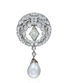 A Baroque Pearl and Diamond Brooch By Cartier Pearl Jewelry, Antique Jewelry, Vintage Jewelry, Vintage Brooches, Cartier, Modern Jewelry, Fine Jewelry, Diamond Brooch, Baroque Pearls