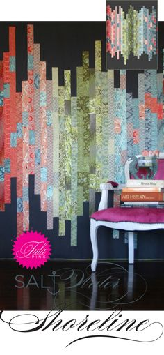 Free pattern from Tula Pink <3 Shoreline (Clever use of jelly roll?)