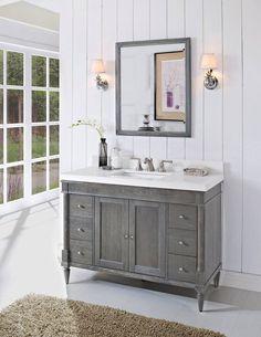 Fairmont Designs Rustic Chic Modern Bathroom Vanity in Silvered Oak Bathroom Vanity Designs, Rustic Bathroom Vanities, Bathroom Renos, Grey Bathrooms, Modern Bathroom, Master Bathroom, Bathroom Ideas, Bathroom Cabinets, Vanity Bathroom
