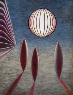 "John Armstrong (British, 1893-1973), Composition ""Balloon Abstract"", 1942. Tempera on wood."