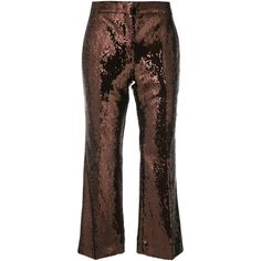 Nº21 cropped flare trousers ($830) ❤ liked on Polyvore featuring pants, capris, brown, cropped pants, cropped trousers, brown trousers, flared cropped pants and cropped capri pants