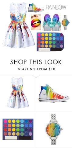 """RAINBOW"" by christinajay ❤ liked on Polyvore featuring Converse and Betsey Johnson"