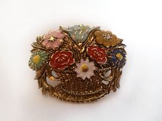 Real Gold Filled Brooch Flower Bucket golden Flower by Urmelshop