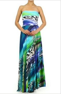 Blue and green maxi