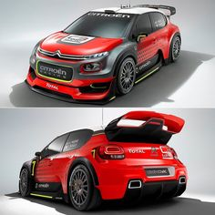 Citroen C3 WRC Concept 2016 Marca francesa vai exibir no Salão de Paris @mondialauto conceito que antecipa o visual do carro para a temporada 2017 do FIA World Rally Championship (WRC). O bólido é baseado na nova geração do C3 e entre as novidades ficou 25 kg mais leve. Além disso melhoraram a aerodinâmica com a largura de 1875mm. Tem controle eletrônico do diferencial e motor recalibrado para render até 380 cv graças ao turbo redimensionado em 36 mm.  #CarroEsporteClube #Citroen #C3 #WRC Citroen Zx, Porsche, Audi, Sweet Cars, Modified Cars, Rally Car, Peugeot, Cars And Motorcycles, Cool Cars
