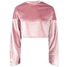 Boohoo Lorna Crop Velvet Oversized Sweat ($28) ❤ liked on Polyvore featuring tops, hoodies, sweatshirts, shirts, crop tops, sweaters, velvet shirt, pastel pink shirt, off the shoulder shirts and pink sweatshirts