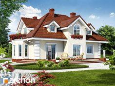 Dom w wiciokrzewie, ins Haus verschütten, Style At Home, Future House, My House, Architecture Résidentielle, Hip Roof, House Paint Exterior, Building Facade, Mediterranean Homes, Design Case