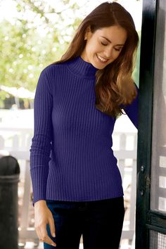 Petite Long Sleeve Ribbed Knit Turtleneck Sweater | Chadwicks of Boston