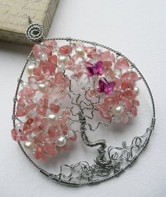 Cherry Blossom Tree Pendant with butterflies by Eklektikabeads by shmessa Wire Wrapped Jewelry, Wire Jewelry, Jewelry Crafts, Jewlery, Cherry Blossom Tree, Blossom Trees, Blossoms, Tree Of Life Jewelry, Tree Of Life Necklace