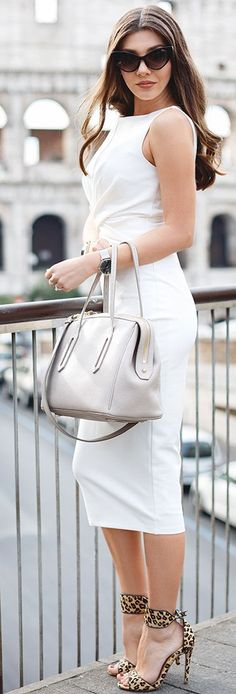 The Mysterious Girl White Midi Dress Chic Fall Travel Style Inspo
