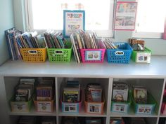 classroom library idea - what if we stacked the smaller bookshelves in the reading corner on top of each other and brought the shelf by the door that used to be the journal storage and suggest she organize her shelves in rubber maids or bins Primary Classroom, Future Classroom, School Classroom, Classroom Libraries, Organization And Management, Classroom Organization, Stacking Bins, Small Bookshelf, Classroom Design