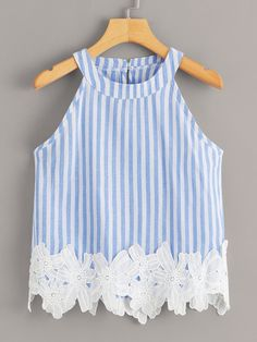 To find out about the Striped Appliques Halter Blouse at SHEIN, part of our latest Tank Tops & Camis ready to shop online today! Summer Outfits, Cute Outfits, Plus Size Tank Tops, Kids Fashion, Fashion Outfits, Applique Fabric, Vacation Dresses, Cami Tops, Cute Shirts