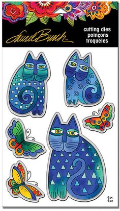 Stampendous - Laurel Burch Indigo Cats Die Set-Artist Laurel Burch strove to create images that would remind people of the ongoing world of the spirit. Magical, beautiful images that will give you the freedom of expression to color and enjoy. Laurel Burch, Cat Cards, Magical Creatures, Copics, Cross Stitch Embroidery, Cat Lovers, Indigo, Card Making, Artsy
