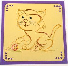 FADENGRAFIK+Glückwunschkarte+/+Grußkarte+Katzen+04+von+Rene´s+Fadengrafiken+auf+DaWanda.com