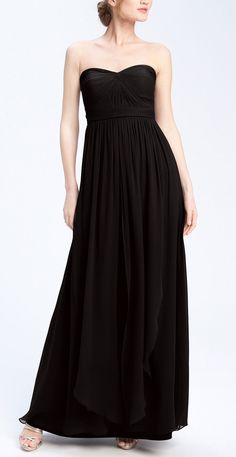 Black evening gown for a formal wedding.