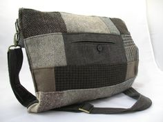 Recycled Jacket Patchwork Shoulder Messenger Tote  by RumahKampung, $83.00