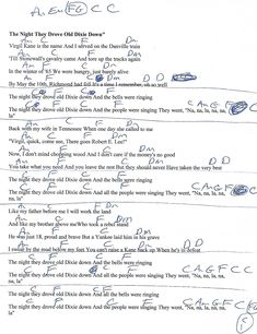 The Night They Drove Old Dixie Down (The Band) Guitar Chord Chart with Lyrics - http://www.youtube.com/munsonmusiclive