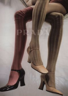 prada campaign archive-poor woman with three legs! At least they are thin and covered with pretty tights and shoes. Shoes Editorial, Editorial Fashion, Mode Vintage, Vintage Shoes, High Fashion, Fashion Shoes, Womens Fashion, Looks Style, My Style