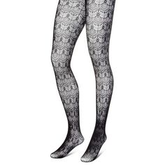 Women's Premium Tights Scalloped Lace Black - Merona™ : Target