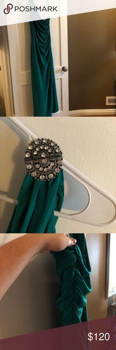 Ralph Lauren Gown Green/Teal Ralph Lauren Gown Size 16 Worn Once to military ball Lauren Ralph Lauren Dresses One Shoulder