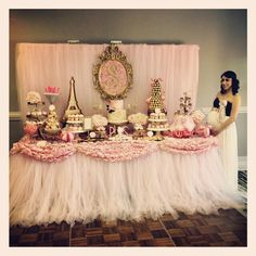Dessert/Candy Buffet table for Paris Baby Shower