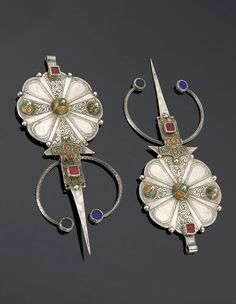 Morocco - Anti Atlas, Tiznit region | Pair of fibulae; silver, enamel and glass cabochons |~ sold (May '15)
