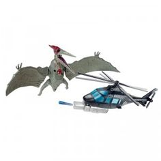 Includes a Pteranodon dinosaur, a helicopter, and helicopter pilot.