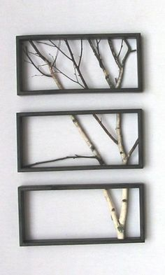 Framed branches a stylish and easy way to decorate your walls. Get 3 frames of the same size and cut up branches to fit inside glue / nail in place.