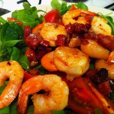 Scallop, prawn and chorizo salad, as seen at the Gruntley's
