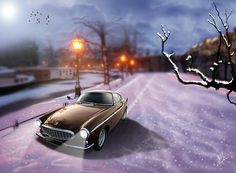 A digital art picture featuring a classic Volvo P1800 car made in sweden. The car is seen out cruising in the winter snow at dusk.