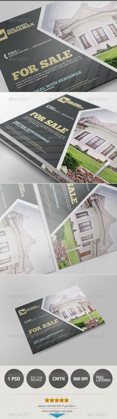 Buy Real Estate by samturn on GraphicRiver. A great flyer template for Real Estate Or Restaurant or Business Company Or Your Free Business . Real Estate Postcards, Real Estate Ads, Real Estate Branding, Real Estate Flyers, Mailer Design, Brochure Design, Flyer Design, Business Postcards, Corporate Identity