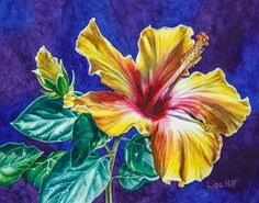 Watercolor demo of yellow hibiscus step 5 by artist Lisa Hill