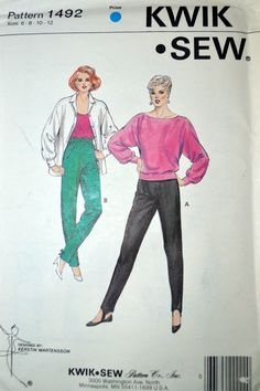 Sewing Pattern Kwik Sew 1492 Misses' Pants Size 6-12 Waist 23-27  inches Uncut Complete by GoofingOffSewing on Etsy