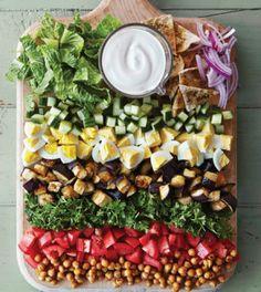 Mid-East Cobb Salad with Roasted Chickpeas & Creamy Tahini Dressing