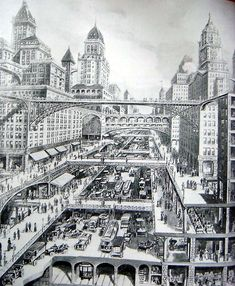 City of the Future by Harvey Wiley Corbett, 1913 from parisdeuxieme