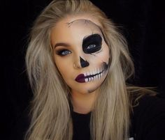 "HALLOWEEN 2016 Day 4: ""Half skull"" PRODUCTS: BROWS: @anastasiabeverlyhills Brow powder in ""Soft Brown"" EYES: @anastasiabeverlyhills Shadows ""Sienna"" ""Burnt Orange"" ""Beauty Mark"" and ""Noir"" @stilacosmetics Stay all Day Liquid Liner, @toofaced ""Better than Sex"" mascara FACE: @urbandecaycosmetics Naken Skin Foundation in ""1.0"" and concealor in ""Light Warm"" @katvondbeauty Lock it Powder Foundation in ""Light 45"" anastasiabeverlyhills Contour Kit @beccacosmetics Shimmering Skin Perfect..."