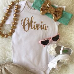 Baby Name Glitter Onesie Custom by HmScotland on Etsy