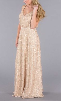 Champagne bridesmaid dress with gold sequins becb3e72fa9d