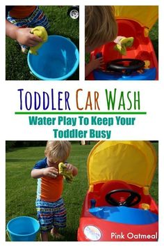 Use this creative water play idea to get outside and keep your toddler busy at the same time! Outdoor Activities For Toddlers, Toddler Learning Activities, Summer Activities For Kids, Infant Activities, Summer Kids, Fun Activities, Summer School, Toddler Car, Toddler Snacks