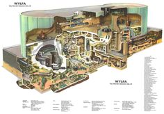 Section through the nuclear reactor at Wylfa Magnox, Wylfa, Anglesey, UK. Wall chart insert, Nuclear Engineering, 1965