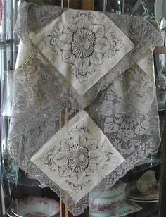 Stunning Vintage Lace Cut-Work-Embroidery White and Gray Windowpane Pattern
