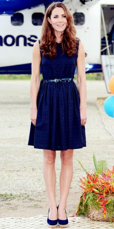 I seriously just love this outfit.... - Kate Middleton in Navy Mulberry dress and Stuart Weitzman wedges