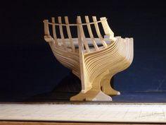 """Charpente et voûte du modèle de """"Master Hand"""", chalutier à voiles anglais construit à Rye au début du XXème siècle."""
