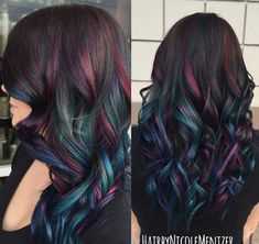 Oil slick hair color A trend that actually works on people with dark hair! Oil Slick Hair Color, Cool Hair Color, Peacock Hair Color, Galaxy Hair Color, Ombre Hair, Peekaboo Hair Colors, Real Human Hair Extensions, Colored Hair Extensions, Mermaid Hair Extensions