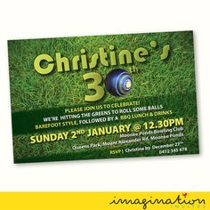 LAWN BOWLS PARTY BIRTHDAY INVITE ~ DIGITAL FILE SUPPLIED <<  Choice of size: 5x7 digital image invitation. You will be emailed a JPEG and