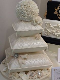 Modern Wedding Cakes Wedding cake - cake by Kim Garrod - CakesDecor - Extravagant Wedding Cakes, Elegant Wedding Cakes, Elegant Cakes, Beautiful Wedding Cakes, Gorgeous Cakes, Pillow Wedding Cakes, Pillow Cakes, Big Wedding Cakes, Wedding Cake Designs