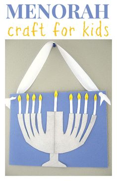 "Hanukkah craft for kids - you can ""light"" the menorah candles every night !"